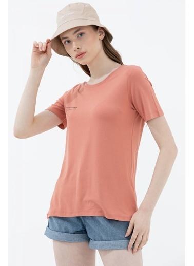 Sementa Basic Yazı Baskılı Tshirt - Somon Somon